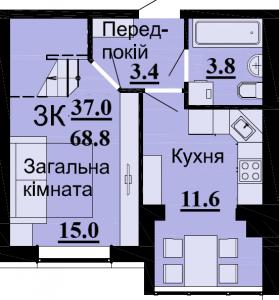 №54 3К 68.8 м2 (1 уровень)