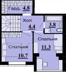 №54 3К 68.8 м2 (2 уровень)