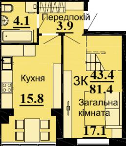 №55 3К 81.4м2( 1 уровень)