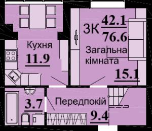 №56 3К 76.6 м2 (1 уровень)