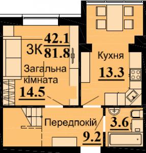 №57 3К 81.8м2 (1уровень)